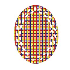Yellow Blue Red Lines Color Pattern Oval Filigree Ornament (Two Sides)