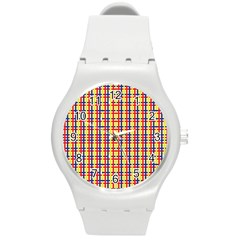 Yellow Blue Red Lines Color Pattern Round Plastic Sport Watch (M)