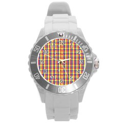 Yellow Blue Red Lines Color Pattern Round Plastic Sport Watch (L)