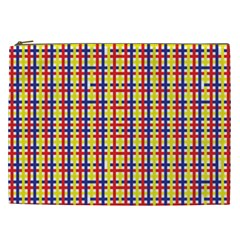 Yellow Blue Red Lines Color Pattern Cosmetic Bag (XXL)