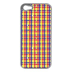 Yellow Blue Red Lines Color Pattern Apple iPhone 5 Case (Silver)