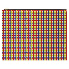 Yellow Blue Red Lines Color Pattern Cosmetic Bag (XXXL)