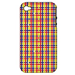 Yellow Blue Red Lines Color Pattern Apple Iphone 4/4s Hardshell Case (pc+silicone)