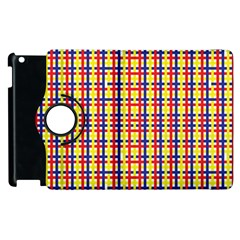 Yellow Blue Red Lines Color Pattern Apple Ipad 2 Flip 360 Case