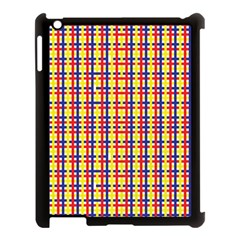 Yellow Blue Red Lines Color Pattern Apple iPad 3/4 Case (Black)