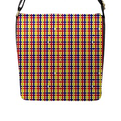 Yellow Blue Red Lines Color Pattern Flap Messenger Bag (L)
