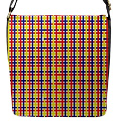 Yellow Blue Red Lines Color Pattern Flap Messenger Bag (S)