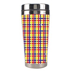 Yellow Blue Red Lines Color Pattern Stainless Steel Travel Tumblers