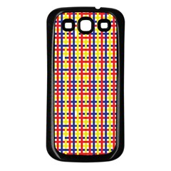 Yellow Blue Red Lines Color Pattern Samsung Galaxy S3 Back Case (Black)