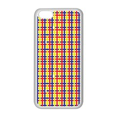 Yellow Blue Red Lines Color Pattern Apple iPhone 5C Seamless Case (White)