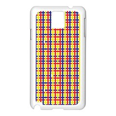 Yellow Blue Red Lines Color Pattern Samsung Galaxy Note 3 N9005 Case (White)