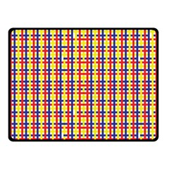 Yellow Blue Red Lines Color Pattern Double Sided Fleece Blanket (Small)