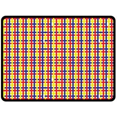 Yellow Blue Red Lines Color Pattern Double Sided Fleece Blanket (large)