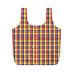 Yellow Blue Red Lines Color Pattern Full Print Recycle Bags (M)