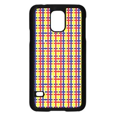 Yellow Blue Red Lines Color Pattern Samsung Galaxy S5 Case (Black)