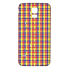 Yellow Blue Red Lines Color Pattern Samsung Galaxy S5 Back Case (White)
