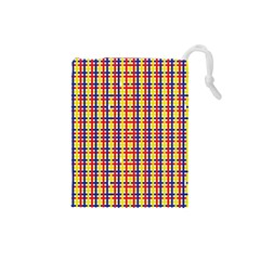 Yellow Blue Red Lines Color Pattern Drawstring Pouches (Small)