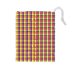 Yellow Blue Red Lines Color Pattern Drawstring Pouches (Large)