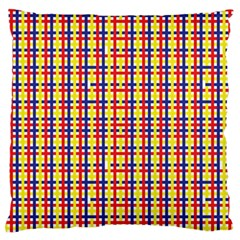 Yellow Blue Red Lines Color Pattern Large Flano Cushion Case (Two Sides)