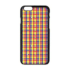 Yellow Blue Red Lines Color Pattern Apple Iphone 6/6s Black Enamel Case