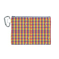 Yellow Blue Red Lines Color Pattern Canvas Cosmetic Bag (M)