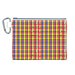 Yellow Blue Red Lines Color Pattern Canvas Cosmetic Bag (L)