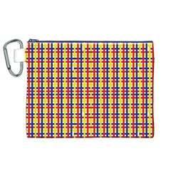 Yellow Blue Red Lines Color Pattern Canvas Cosmetic Bag (XL)