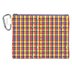 Yellow Blue Red Lines Color Pattern Canvas Cosmetic Bag (XXL)