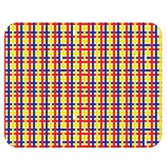 Yellow Blue Red Lines Color Pattern Double Sided Flano Blanket (Medium)