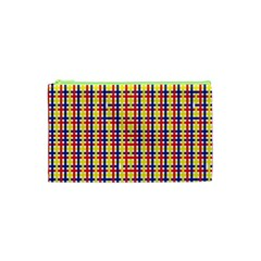 Yellow Blue Red Lines Color Pattern Cosmetic Bag (XS)