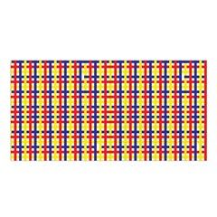 Yellow Blue Red Lines Color Pattern Satin Shawl
