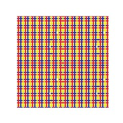Yellow Blue Red Lines Color Pattern Small Satin Scarf (Square)