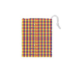 Yellow Blue Red Lines Color Pattern Drawstring Pouches (xs)