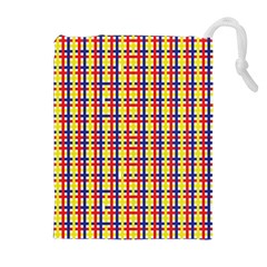 Yellow Blue Red Lines Color Pattern Drawstring Pouches (extra Large)