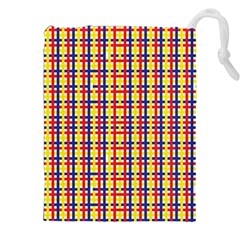 Yellow Blue Red Lines Color Pattern Drawstring Pouches (XXL)