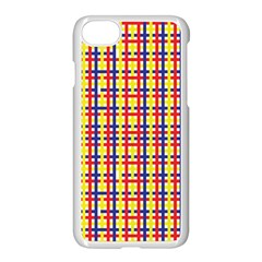 Yellow Blue Red Lines Color Pattern Apple Iphone 7 Seamless Case (white)