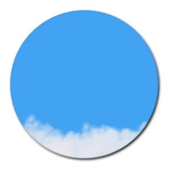 Blue Sky Clouds Day Round Mousepads