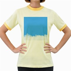 Blue Sky Clouds Day Women s Fitted Ringer T-Shirts