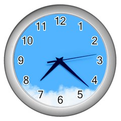 Blue Sky Clouds Day Wall Clocks (Silver)