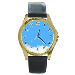 Blue Sky Clouds Day Round Gold Metal Watch