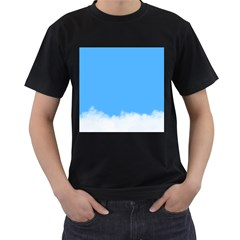 Blue Sky Clouds Day Men s T Shirt (black) (two Sided)