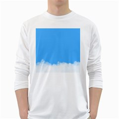 Blue Sky Clouds Day White Long Sleeve T-Shirts