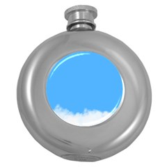 Blue Sky Clouds Day Round Hip Flask (5 oz)