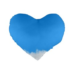 Blue Sky Clouds Day Standard 16  Premium Heart Shape Cushions