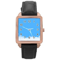 Blue Sky Clouds Day Rose Gold Leather Watch