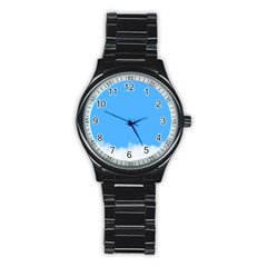 Blue Sky Clouds Day Stainless Steel Round Watch