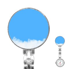 Blue Sky Clouds Day Stainless Steel Nurses Watch