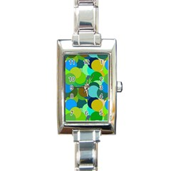 Green Aqua Teal Abstract Circles Rectangle Italian Charm Watch