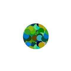 Green Aqua Teal Abstract Circles 1  Mini Magnets