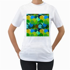 Green Aqua Teal Abstract Circles Women s T-Shirt (White) (Two Sided)